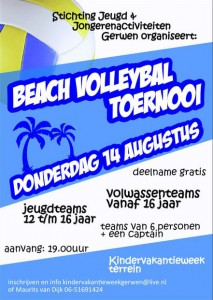 Beachvolleybaltoernooi flyer